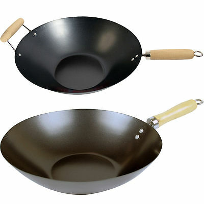 Non Stick Carbon Steel Flat Base Wok Asian Frying Pan Wooden Handle Kitchen Pot