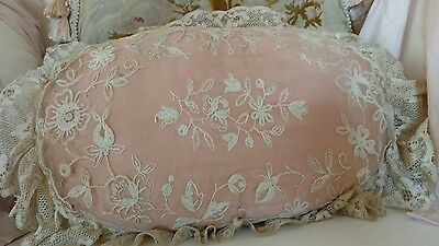 SHABBY antique VTG nEt lace pillow TAMBOUR LACE AS IS VICTORIAN STYLE PINK