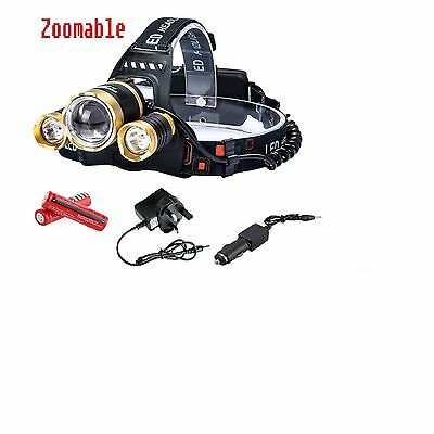 Zoomable 6000 Lumens CREE MX-T T6 LED  Headlight with batteries and Chargers