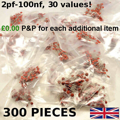 Ceramic Disc Capacitors 50V Assortment Mix 300 Pack 10 x 30 Values Kit 2pF-100nF