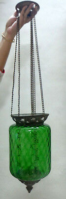 ANTIQUE ARTS & CRAFTS GREEN GLASS CANDLE CEILING LAMP c.1900 BELGIUM
