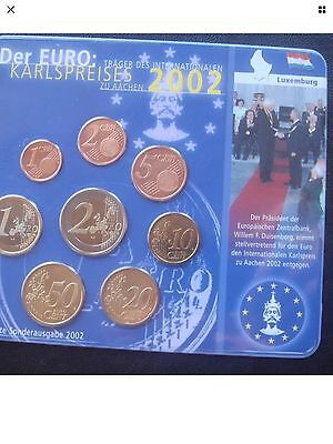Luxembourg Euro Coin Set 2002 Karlspreises All Coins BUNC 1cent To 2€ New