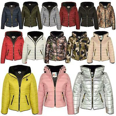 9e06d580a Girls Jacket Kids Padded Puffer Bubble Faux Fur Collar Quilted Warm Coats  3-13 Y