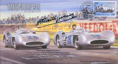1954c MERCEDES BENZ W196 REIMS F1 Cover with MAURICE TRINTIGNANT signature