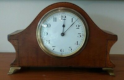 Edwardian Style Inlaid Mantel Clock In Good Working Condition