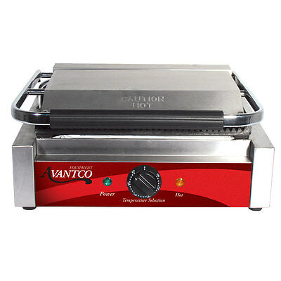 Grooved Commercial Panini Sandwich Grill - 120V, 1750W
