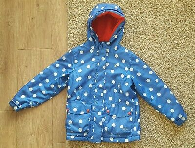 Joules Girls Spotty Raincoat Age 8 Years Blue Zip and popper Jacket polka