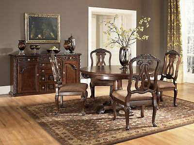 TREVISO - 5pcs Traditional Round Pedestal Dining Room Table & Wood Chairs Set