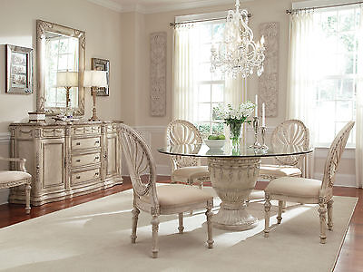 GRANDE PALACE - 5pcs Traditional Round Glass Top Dining Room Table & Chairs Set