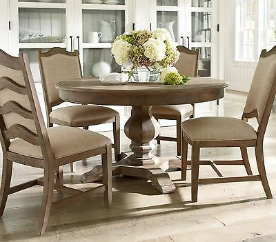 AMOROSO - 5pcs European Cottage Round Oval Solid Dining Room Table & Chairs Set