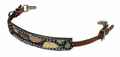 Western FEATHER Overlay Leather WITHER STRAP For Breast Collar Horse Tack