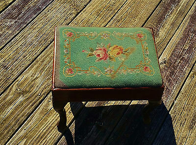 Antique Green Floral Needlepoint Ottoman Foot Stool