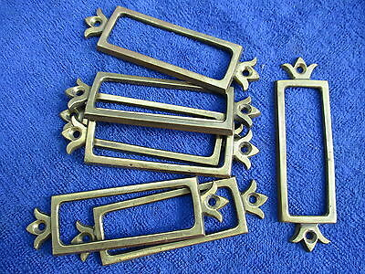 Reclaimed 7x2cm Antique Brass Furniture Label Frame Holder. Up to 8 available.