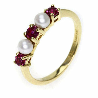Tiffany and Co. 14k Yellow Gold Red Ruby and freshwater cultured pearl Ring