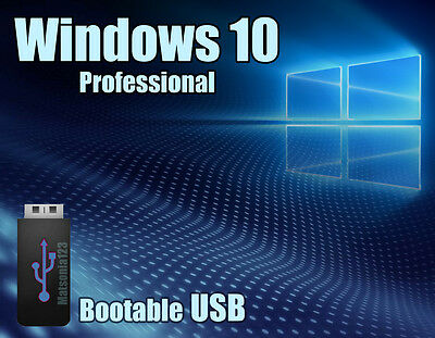 Windows 10 Pro Professional 64bit Licence + bootable USB key - 100%Genuine