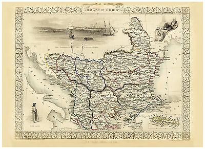 Old Vintage Map of Turkey in Europe richly illustrated Tallis 1851
