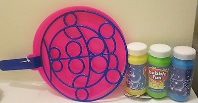 Children's Blow Bubble Solution and Jumbo Wand Activity Set of 4