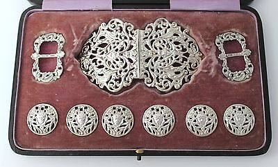 1900 Solid Silver Belt Buckle Shoe Buckles & Buttons Set WALKER & HALL