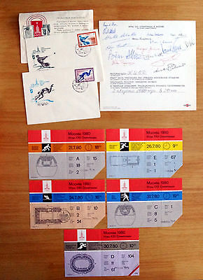 1980 Moscow Olympics Memorabilia Signed Menu Fdc's And 5 Original Tickets Teamgb