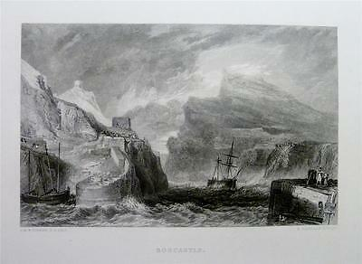 Antique Print 1878: BOSCASTLE, CORNWALL: SAILING BOATS, HARBOUR by J.M.W. TURNER