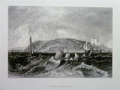Antique Print 1878: MOUNT EDGECOMBE, DEVON - BOATS SHIPS AT SEA by J.M.W. TURNER