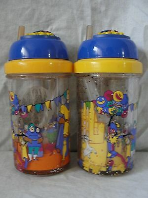 Lot of 2 Hunchback Sippy Cups with Retractable Straw Esmeralda Quasimodo Phoebus