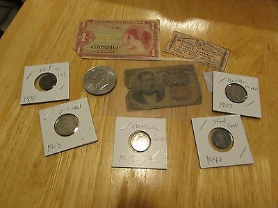 Collection Of Old Us Coins And Currency   Set 9