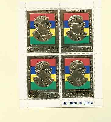 Mauritius 1980 Sc 506 Sg 600 Sir S. Ramgoolam Mnh S/s Of 4 Stamps Gold Embossed