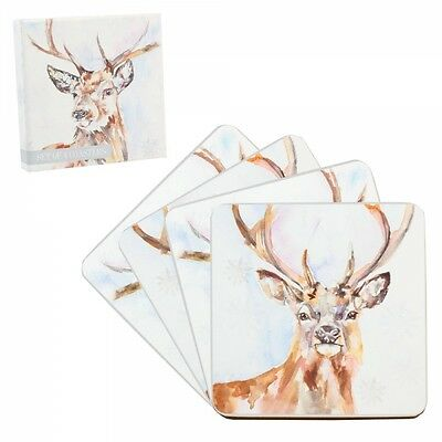 Winter Stag Print Coasters  - Set of 4 - Gift Boxed