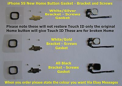 iPhone 5S Home Button Flex With Seal & Bracket & Screws For iPhone 5S