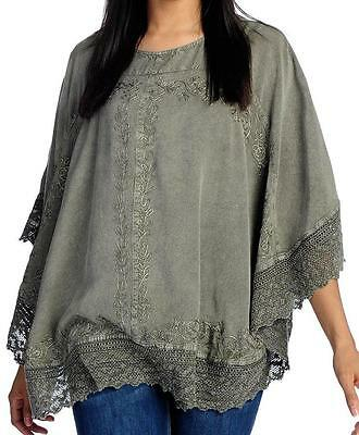 NEW Indigo Thread Co.™ Printed Woven Elbow Sleeve Fringe Trimmed Poncho