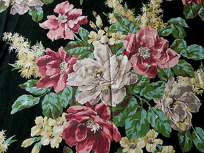 Antique Vintage 1940's Floral Fabric~Red Pink Green Taupe Butter Yellow Black