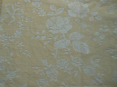 Antique French Roses Garland Damask Floral Ticking Fabric ~  Tan Beige