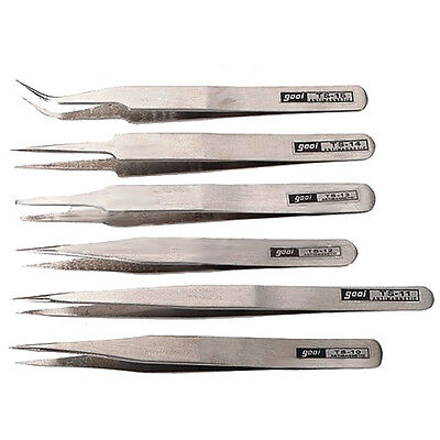 Kit 6 Professional Security Antistatic Tweezers High Quality Silver Anatomy LW