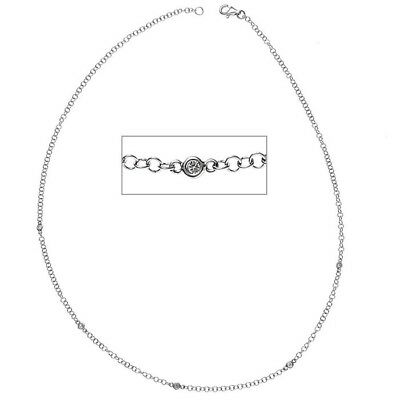 2,8mm Halskette Collier mit Diamanten Brillanten 585 Gold Weißgold 43cm, Damen