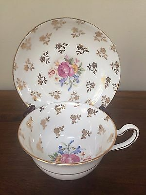 Clare Bone China FLORAL & GOLD GILT FLOWERS Footed Cup & Saucer Set