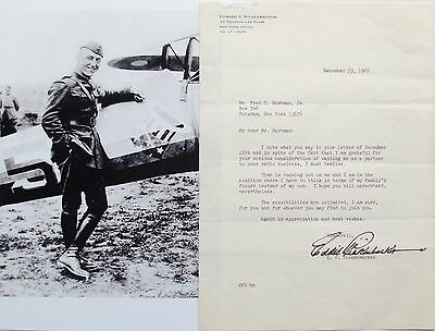 Eddie Rickenbacker WW I Ace Signed Letter Medal Honor 26 Aerial Victories