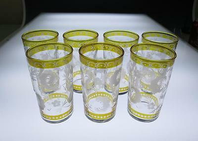 Set 7 Bohemian Etched Amber Flash Glasses Juice Cocktail Art Glass Czech Bohemia