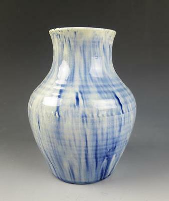 Early Antique MOORCROFT Blue & White Mottled Drip Vase England Pottery Vintage