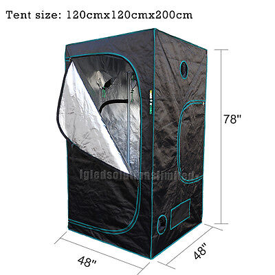 48''x48''x78'' Indoor Grow Tent Room Reflective Mylar Hydroponic Non Toxic Hut