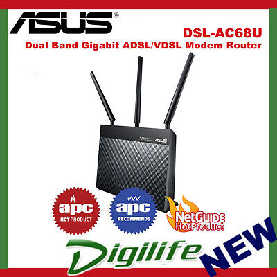 ASUS DSL-AC68U Dual Band Wireless AC1900 Gigabit ADSL2+/VDSL Modem Router
