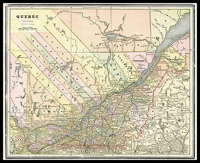 QUEBEC Canadian Province St. Lawrence River 1893 antique color lithograph Map