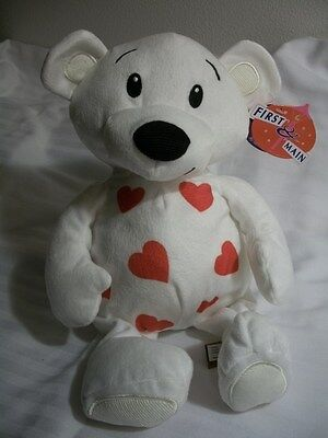 """First & Main Dimples White Teddy Bear Red Hearts Plush 10"""" Sitting Stuffed Toy"""