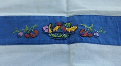 Vintage square blue fruit hand embroidered tablecloth with 4 matching napkins