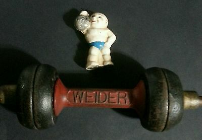 Vintage Collection of Old-school Memorialbilia, Weider dumbbell &cast Iron bank