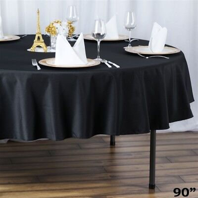 "6 ROUND 90"" Premium POLYESTER TABLECLOTHS Wedding Catering Kitchen Home Supplies"