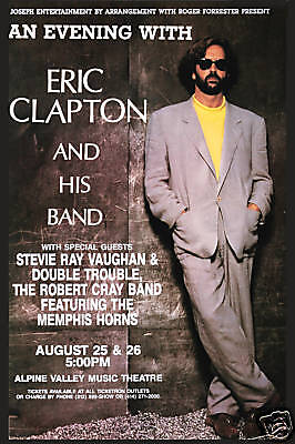 Eric Clapton & Stevie Ray Vaughan at Alpine Theatre  Concert Poster 1990 12x18