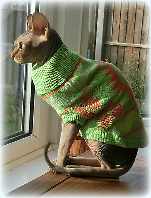 green or red winter sweater Sphynx cat clothes pet jumper Nacktkatze