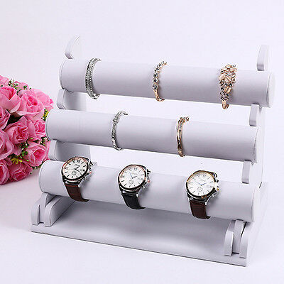 3-Tier White Leather Bar Bracelet Bangle Watch Jewellery Display Stand Holder AU