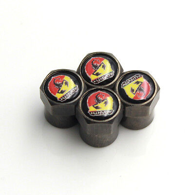 Fiat 500 Abarth Black Wheel Tyre Valve Dust Caps for Fiat 500 Abarth Set of 4